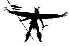 Indischer Krieger mit Flügeln und Waffe Stockbild