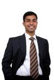 Indischer lächelnder Geschäftsmann Stockfoto