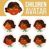 Indischer Mädchen-Avatara-Satz-Kindervektor kindergarten hinduistisch Asiatisch Stellen Sie Gefühle gegenüber Emotional, im Gesic lizenzfreie abbildung