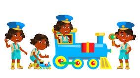 Indischer Mädchen-Kindergarten-Kindersatz-Vektor hinduistisch Asiatisch Freundliche kleine Kinder Spielen mit Bahnzug Nett, komis vektor abbildung