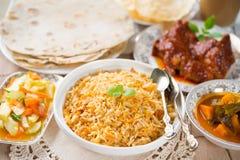 Indischer Mahlzeit biryani Reis Lizenzfreies Stockfoto