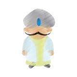 Indischer Mann der Karikatur mit Schnurrbartturban Dhoti vektor abbildung