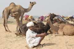 Indischer Nomade nahm an dem jährlichen Pushkar-Kamel Mela teil Stockbild