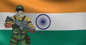 Indischer Soldat Background Animation vektor abbildung