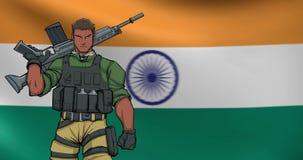 Indischer Soldat Background Animation stock footage
