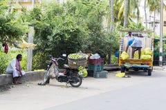 Indischer Straßenhändler mit Frischgemüse und Früchten entlang der Straße stockfotos