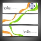 Indischer Tag der Republik-Feier-Netztitel oder Fahnensatz Lizenzfreies Stockfoto