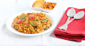 Indischer traditioneller vegetarischer Reis-Südteller, Bad Bisi Bele Stockfoto