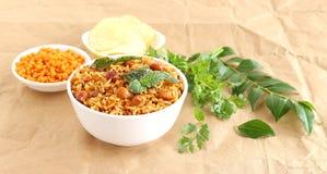 Indischer traditioneller vegetarischer Reis-Südteller, Puliyogare Lizenzfreie Stockfotografie
