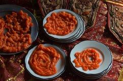 Indischer Trichter Jalebi backt Bonbons zusammen Stockfoto