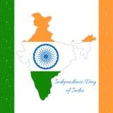 Indischer Unabhängigkeitstag Karte von Indien in den Zustandsflaggenfarben Lizenzfreies Stockfoto