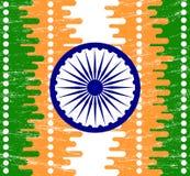 Indischer Unabhängigkeitstagkonzepthintergrund mit Ashoka drehen herein Schmutzart Lizenzfreies Stockbild