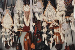 Indischer weißer Traumfängerhintergrund Stockbilder