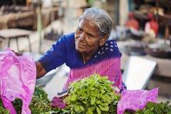 Indischer weiblicher Verkäufer am allgemeinen Gemüsemarkt stockbild