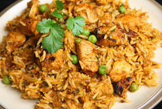 Indisches Curry-Abendessen Huhn-Tikka Biriyani Stockfotos
