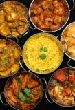 Indisches Cusine, Curry u. Reis Lizenzfreie Stockbilder
