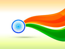 Indisches Flaggendesign gemacht in der Wellenart Stockbilder