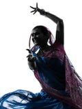 Indisches Frauentänzer-Tanzenschattenbild Lizenzfreies Stockfoto