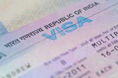 Indisches Geschäfts-Visum-Makro Stockbild