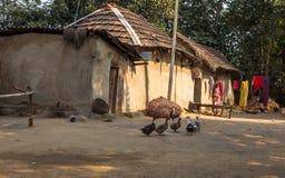 Indisches ländliches Dorf mit Schlamm bringt Enten und eine Stammes- Frau, die im Hof steht unter Stockfotografie