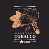 Indisches Mädchen des Logos mit Tabakblättern und Worttabak träumen auf schwarzem Hintergrund Stockbilder