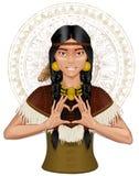 Indisches Mädchenmädchen des amerikanischen Ureinwohners, das Herz durch Finger zeigt Stockfoto