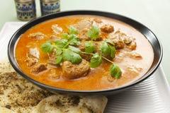 Indisches Mahlzeit-Nahrungsmittelcurry-Lamm Rogan Josh Naan Brot Stockfotos