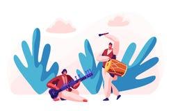 Indisches Musiker-Playing Traditional Musical-Instrument Dhol und Sitar am klassischen Konzert Ausf?hrend-Spiel-Trommel-Musik lizenzfreie abbildung