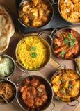 Indisches Nahrungsmittelcurry-Mahlzeit-Bankett Stockfotografie
