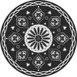Indisches traditionelles Muster von Schwarzweiss Stockbild