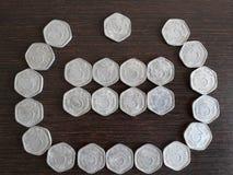 Indisches Währung 3 paisa stockbilder