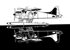 Indiscrete Propeller-Seeflugzeug-negativer kombinierter Spiegel Lizenzfreie Stockbilder