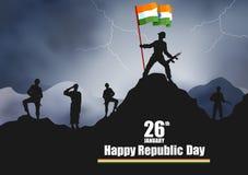 Indisk armé med flaggan för lycklig republikdag av Indien stock illustrationer