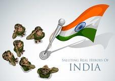 Indisk armésoilder som saluterar falg av Indien med stolthet royaltyfri illustrationer