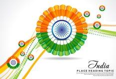 Indisk bakgrund för republikdagvåg med blomman stock illustrationer