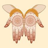 Indisk brud med mehandi i hand Arkivbilder