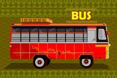 Indisk buss som föreställer färgrika Indien stock illustrationer
