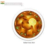 Indisk curry, en berömd maträtt i Indien vektor illustrationer