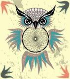 Indisk dekorativ dröm- stoppareuggla i grafisk stil illustration royaltyfri fotografi