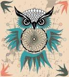Indisk dekorativ dröm- stoppareuggla i grafisk stil illustration royaltyfri bild