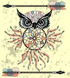Indisk dekorativ dröm- stoppareuggla i grafisk stil illustration stock illustrationer