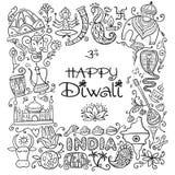 Indisk diwalifestivalferie Skissa för din design royaltyfri illustrationer