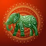Indisk elefant med den etniska prydnaden Arkivbilder