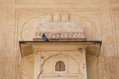 Indisk fönsterstil i bärnstensfärgat fort Royaltyfri Bild