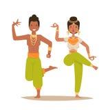 Indisk för Indien för folk för symboler för kontur för dansare för kvinnamandans vektor isolerad film för parti för show dans, bi stock illustrationer