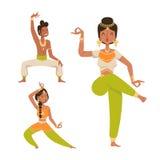 Indisk för Indien för folk för symboler för kontur för dansare för kvinnamandans vektor isolerad film för parti för show dans, bi vektor illustrationer