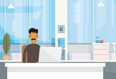 Indisk för Indien för skrivbord för sammanträde för affärsman Office Working Place affärsman bärbar dator royaltyfri illustrationer