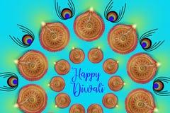 Indisk festival Diwali, Diwali lampdesign Arkivbilder