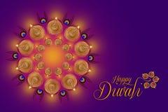 Indisk festival Diwali, Diwali lampdesign Arkivbild