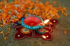 Indisk festival Diwali, Diwali lampdesign Arkivfoton